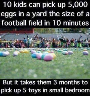 10 kids can pick up 5,000 eggs in a yard the size of a football field in 10 minutes  But it takes them 3 months to pick up 5 toys in small bedroom